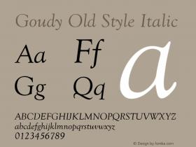 Goudy Old Style Italic Version 1.50图片样张