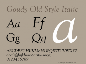 Goudy Old Style Italic Version 1.50图片样张