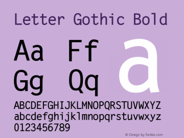 Letter Gothic Bold Version 1.02a图片样张