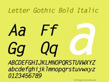 Letter Gothic Bold Italic Version 1.3 (Hewlett-Packard)图片样张