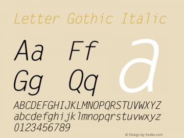 Letter Gothic Italic Version 1.3 (Hewlett-Packard)图片样张