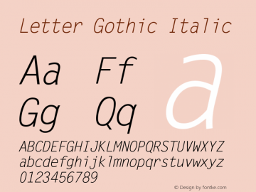 Letter Gothic Italic Version 1.02a图片样张
