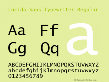Lucida Sans Typewriter Regular Version 1.50图片样张