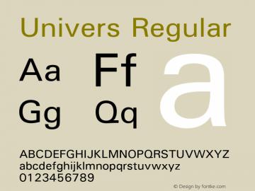 Univers Version 1.02a Font Sample