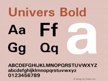 Univers Bold Version 1.02a Font Sample