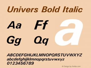 Univers Bold Italic Version 1.3 (Hewlett-Packard) Font Sample