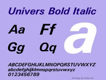Univers Bold Italic Version 1.02a Font Sample