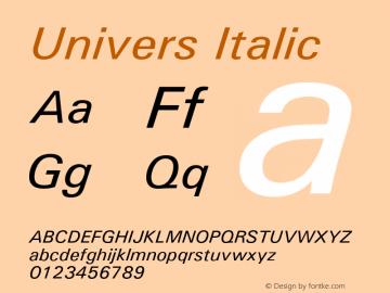 Univers Italic Version 1.02a Font Sample