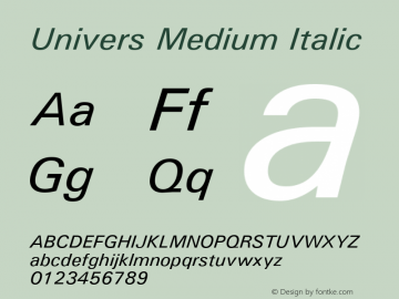 Univers Medium Italic Version 1.3 (Hewlett-Packard) Font Sample