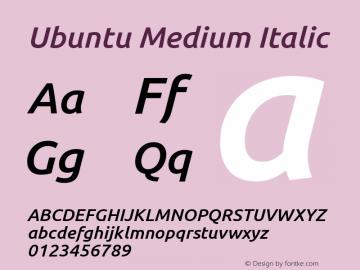 Ubuntu Medium Italic 0.83 Font Sample