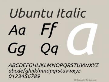 Ubuntu Italic 0.83 Font Sample