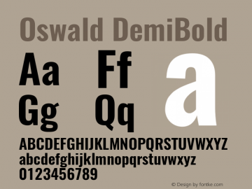 Oswald DemiBold 3.0; ttfautohint (v0.95) -l 8 -r 50 -G 200 -x 0 -w
