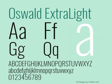 Oswald ExtraLight 3.0; ttfautohint (v0.95) -l 8 -r 50 -G 200 -x 0 -w