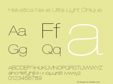Helvetica 23 Ultra Light Extended Oblique Version 001.000图片样张