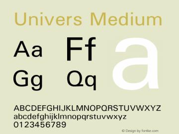 Univers Medium Version 1.3 (Hewlett-Packard) Font Sample