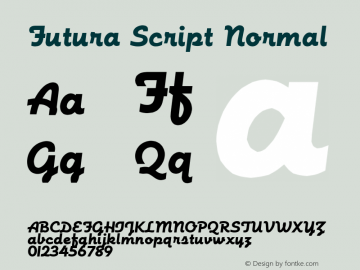 Futura Script Normal 1.0 Wed Aug 13 09:30:49 1997 Font Sample