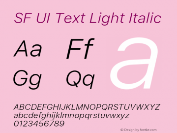 SF UI Text Light Italic 11.0d59e2图片样张