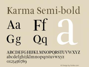 Karma Semi-bold Version 1.0图片样张