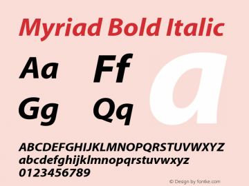 Myriad-BoldItalic 001.000图片样张