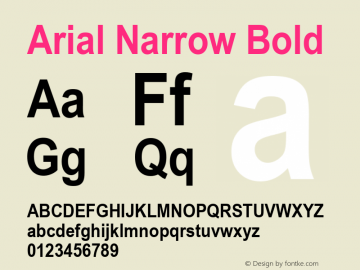 Arial Narrow Bold Version 2.38.1x图片样张