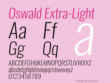 Oswald Extra-LightItalic 3.0图片样张