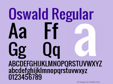 Oswald Regular Version 2.3图片样张