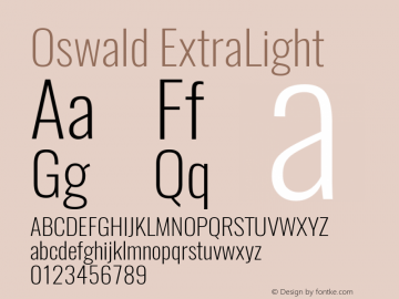 Oswald ExtraLight Version 4.002图片样张