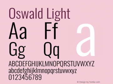 Oswald Light Version 4.002;PS 004.002;hotconv 1.0.88;makeotf.lib2.5.64775图片样张