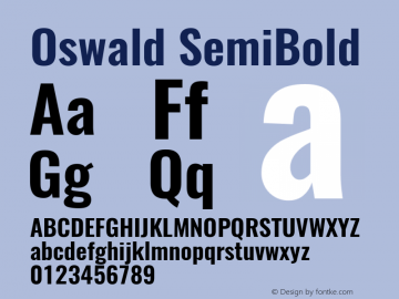 Oswald SemiBold Version 4.002图片样张