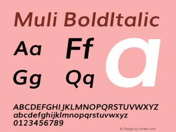 Muli Bold Italic Version 2.0图片样张