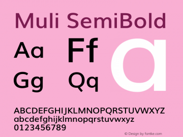 Muli SemiBold Version 2图片样张