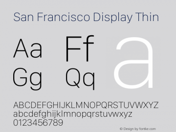 San Francisco Display Thin Version 1.00 January 4, 2017, initial release图片样张