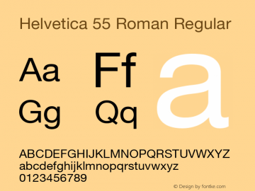 Helvetica 55 Roman Version 3.0; 2002; initial release图片样张