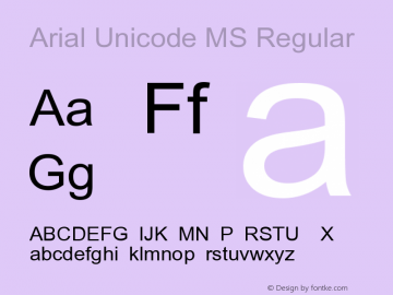 Arial Unicode MS Version 1.0 Extracted by ASV http://www.buraks.com/asv图片样张