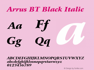 Bitstream Arrus Black Italic BT spoyal2tt v1.34图片样张