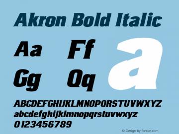 Akron-BoldItalic Version 001.901图片样张
