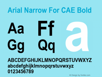 Arial Narrow For CAE Bold Version 1.00图片样张