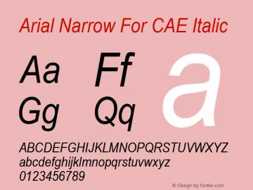 Arial Narrow For CAE Italic Version 1.00图片样张
