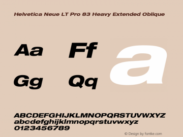 HelveticaNeueLTPro-HvExO Version 1.000;PS 001.000;Core 1.0.38图片样张