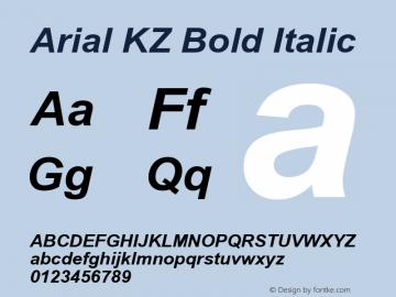 Arial KZ Bold Italic Version 2.50 KZ图片样张