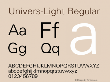 Univers-Light Converted from D:\FONTTEMP\UNIVERS3.TF1 by ALLTYPE图片样张