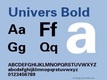 Univers Bold Macromedia Fontographer 4.1.5 20‐07‐2000 Font Sample