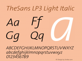TheSans LP3 Light Italic Version 1.641 2006图片样张