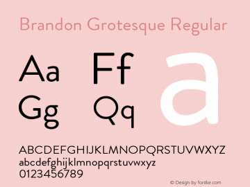 Brandon Grotesque Regular Regular Version 001.000图片样张