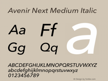 Avenir Next Medium Italic 8.0d2e1图片样张