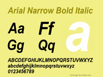 Arial Narrow Bold Italic Version 1.50图片样张