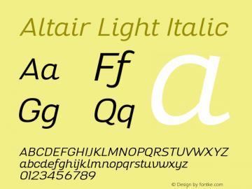 Altair-LightItalic Version 1.000图片样张