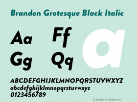 BrandonGrotesque-BlackItalic Version 001.000图片样张
