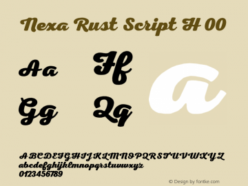Nexa Rust Script H 00 Version 1.000;PS 001.000;hotconv 1.0.70;makeotf.lib2.5.58329 DEVELOPMENT图片样张