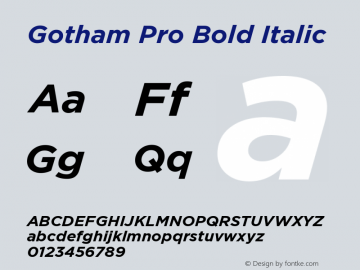 GothamPro-BoldItalic Version 1.100; Cyrillic Support图片样张